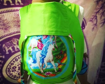 Half Buckle Mei Tai: Rainbow Unicorn.