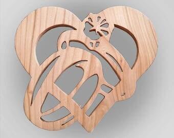 Solid Oak Heart & Rings Silhouette