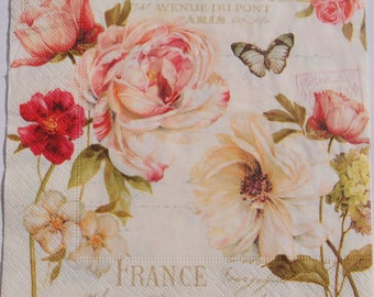 Decoupage Paper Napkins x4 Roses Retro Vintage for Decoupage Craft Scrapbooking 016