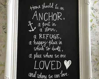 Personalised quote chalkboard sign