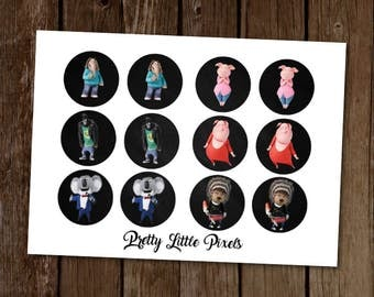 Sing Cupcake Toppers, Printable Cupcake Toppers, Sing Movie Party, Sing Party Decorations