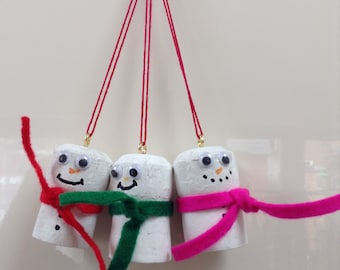 Set of 3 adorable wine cork snowman ornaments