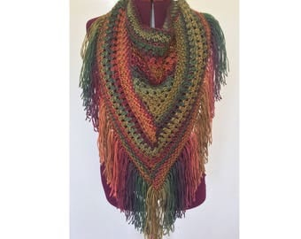 Cowl,  Crochet Cowl, Knitted Cowl, Cowl Neck, Fringe, Triangle Scarf, Oversized Cowl, Oversized Scarf, Neck Warmer