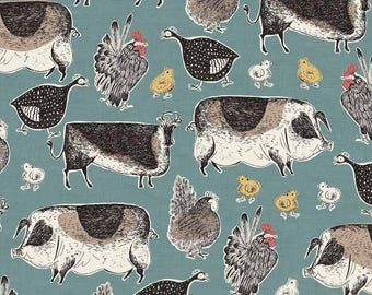 Farmyard Animals Fabric from Makower's 'Home Grown' Collection