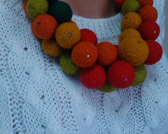 Necklake with balloons.Bijouterie of wool. Felted balls collected in a bunch.Felting bon bon.Orange Red Green Yellow balls.Gift for womens.