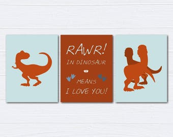 Dinosaur Nursery Decor/Nursery Wall Art/ Kids Bedroom Decor/T-rex/Nursery Canvas/ Set of 3