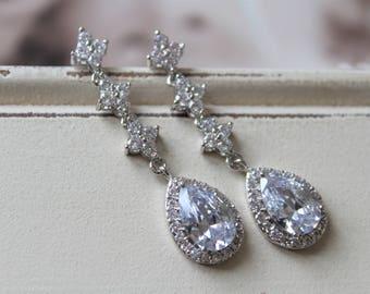 Art Deco Earrings ,Crystal  Drop Earrings , Vintage Style Crystal Earrings, Bridal Earrings,  Wedding Earrings,  Stud Earrings , Bridesmaid