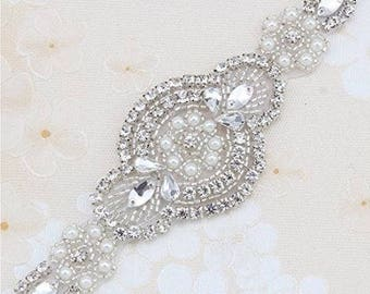 Silver Wedding Dress Belt With Clear Crystals and Pearls