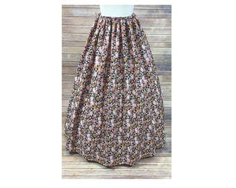 Skirt Only - Renaissance - Civil War - Victorian - Southern Belle - LARP - Cosplay - Dickensonian - Pioneer - pink floral - dress costume