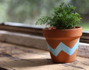 Small Terracotta Pots - Geometric Triangle Designs