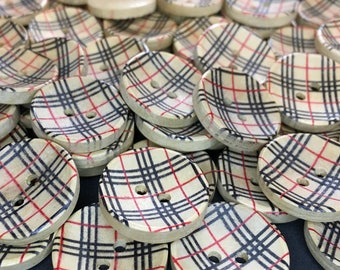 6 Tartan Wooden Buttons, Scottish, Celtic, Fashion
