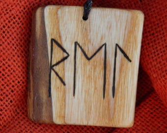 "Wooden Rune-bind amulet talisman ""Safe and smooth travel"" pyrography hand made Asatru Wicca Pagan elder FUTHARK"