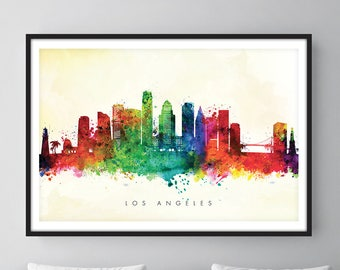 Los Angeles Skyline, Los Angeles California Cityscape Art Print Watercolor [SWLAX04]