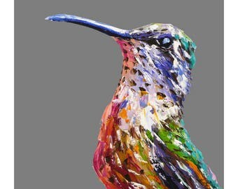 Hummingbird print, bird art print, colourful bird on grey, palette knife oil, fine art print, wall print, home decor