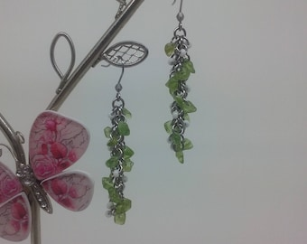 Shaggy Vines with White Flowers, Unique Handmade Chainmaille Jewellery