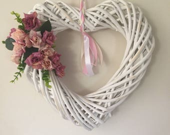 Wicker heart. White heart, wicker heart double sided. Wicker hearts