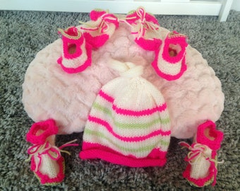 Hand knitted  strawberries and cream set