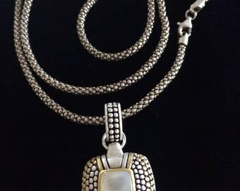 Mother of Pearl two tone .925 sterling silver pendant with popcorn chain