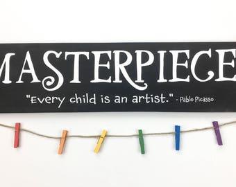 Masterpieces child's art display