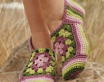 Knitted Slippers crochet slippers women slippers cotton slippers boho slippers granny slippers summer slippers fashion Drops Lilith