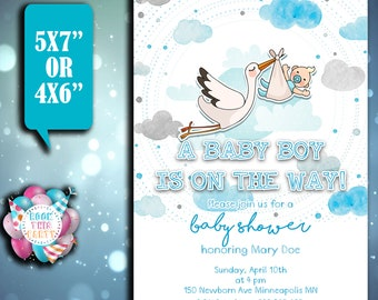 Customized BABY SHOWER invitation,party supplies,BABY invitation,digital file,digital art,digital file,Digital baby Shower invites, baby boy