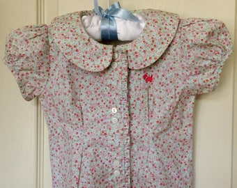 Vintage 1960 Baby Ferrioni Bimbinni Calico Print Embroidered Blouse