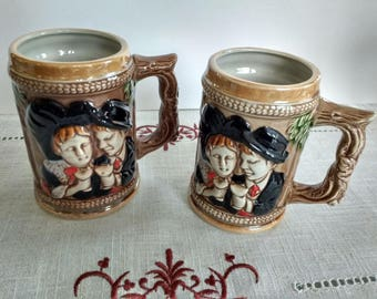 2 Alsatian beer mugs