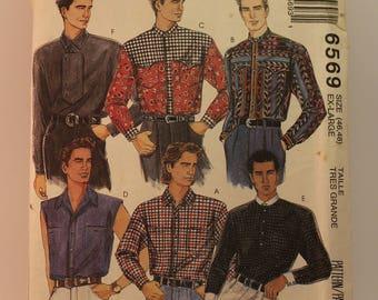 Vintage Mens Sewing Pattern - McCalls Shirt 6569 Size XL