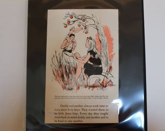 adam and eve 1955 bible babies laminated picture and text