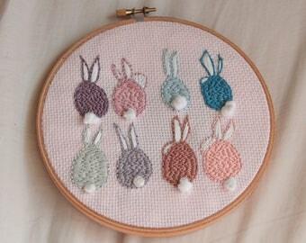 Pastel Bunnies Hoop Art Embroidery