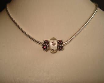 Pandora European Milk Glass & Pink Beaded Charm Necklace
