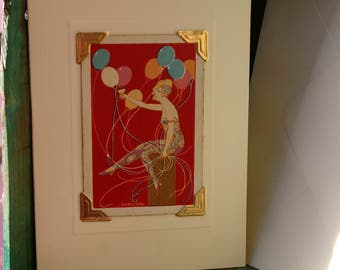 Handmade greetings/birthday card. Genuine vintage playing card, Art Deco party lady with balloons.