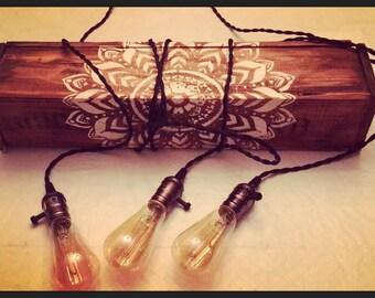 Handmade Rustic Indoor/Outdoor Chandelier w/Vintage style Edison bulbs