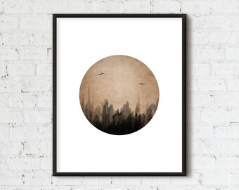 Minimalist Landscape, Minimalist Printable, Circle Abstract Art, Black Ink Art, Home Decor, Wall Art, Trees, Instant Download