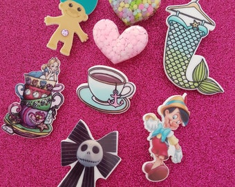 Novelty and Quirky Brooches / Pins. Pinnochio, Mermaid, Troll, Heart, Alice in Wonderland, Jack Skellington.