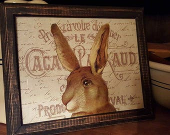 Colonial Primitive Folk Art Style Distressed Framed Print 8x10 - Spring Rabbit Hare Easter French