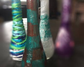 vibrant hand-decorated bud vase