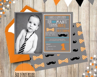 First Birthday Invitation Boy, Photo First Birthday Invitation, Mustache and Bow Tie First Birthday, Second Birthday, Third Birthday, Invite