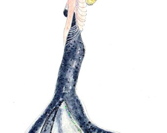 Skinny Goddess #8 Watercolor Painting by Cherie IZZO