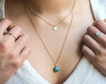 Chinese turquoise necklace | 14k gold filled