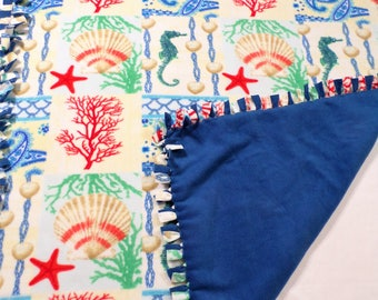 Coral Nautical Patchwork Fleece Blanket