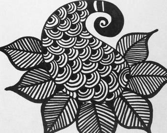 """Inner Peace. 8x10"""" Henna Inspired Print."""