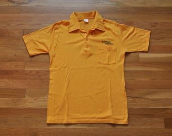Vintage TigerAir Jetcenter Denver Yellow Pocket Polo // 50/50 Super Soft // Yellow // USA Made // 70s 80s 90s