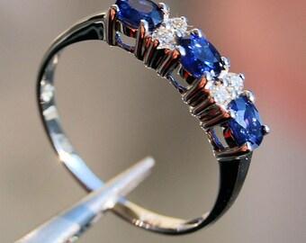 14K Sapphire  Eternity Ring in White Gold