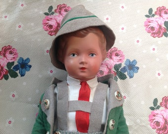 Antique vintage celluloid plastic German boy doll 1930s or 1940s turtle mark