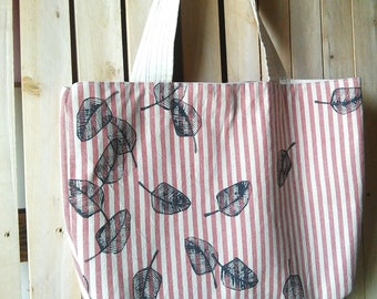 striped tote  bag ,canvas bag , red white tote bag, hand printed leaves , striped beach bag, summer bag