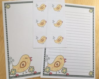 Cute Bird Letter Writing Paper Set & Envelope Seals