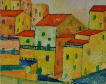 Oil painting on cardboard canvas under the Sun of Italy