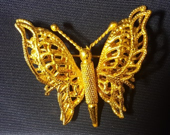 Vintage Monet Gold Tone Butterfly Brooch Pin