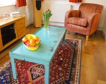 Industrial, Coffee table, industrial metal, factory patina, handmade repurposed, industrial furniture.